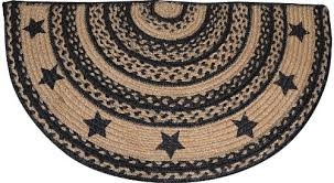 Primitive Country Area Rugs Rug U2013 Braided Jute Farmhouse Star Half Circle Shaped Rug Black Tan