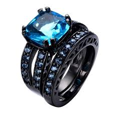Aquamarine Wedding Rings by Two In One Band Aquamarine Wedding Ring Anel Aqua Cz Vintage