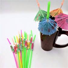 50pcs umbrella drinking straws parasol cocktail paper straws