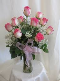 Long Stem Rose Vase Beautiful Vase Of Pink And White Roses For Delivery By Flower