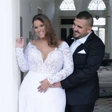 Plus Size Wedding Dress V Neck Plus Size Wedding Gown With Lace Sleeves