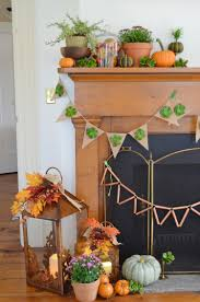 Harvest Home Decor Fall Mantel Decorations With Succulents Burlap And Copper