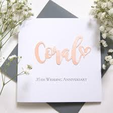 anniversary card coral 35th wedding anniversary card shop online hummingbird card