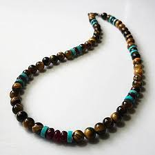 mens personalized necklace mens necklace garnet turquoise and tigers eye