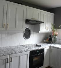 Kitchen With Mosaic Backsplash by Painted Tile Backsplash Cover Those Ugly Tiles Make Do And Diy