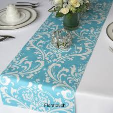 blue and white table runner traditions white damask on light turquoise pool blue wedding table