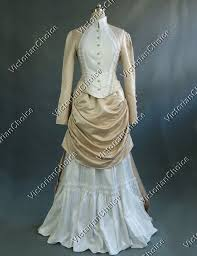 Halloween Costumes Wedding Dress Edwardian 1900s Vintage Ghost Bustle Wedding Gown Theatre