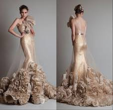 2014 new designer luxury gold color gown one shoulder tulle