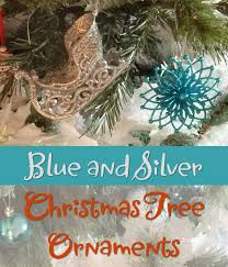 wintry blue and silver tree ornaments