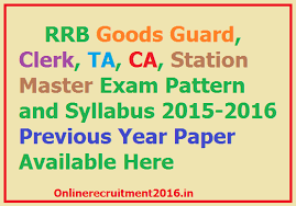 exam pattern of goods guard rrb station master goods guard clerk ta ca syllabus 2016 exam