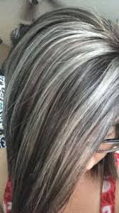 silver hair with blonde lowlights lowlights and highlights to soften the transition to grey