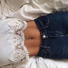 lace crop top belly button piercing thin belly