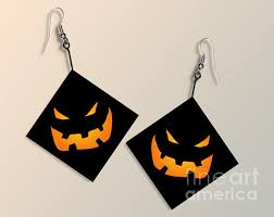 paper halloween pumpkin earrings digital art by melissa a benson