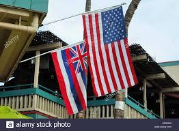 Hawaiian Flag Amerikanischen Und Hawaiian Flag In Einem Gebäude In Lahaina Maui