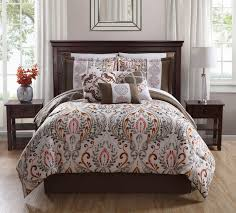 Bedding Set Queen by 10 Piece Renia Taupe Spice Ivory Comforter Set