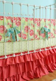 Pink And Teal Crib Bedding by Coral Baby Girl Crib Bedding Tumbling Roses U0026 By Lottiedababy