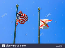 Florida Flag History The Florida State Flag And American Flag Fly Along Each Other In