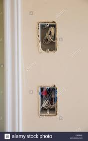 electrical box for switch and plug with wires while new house