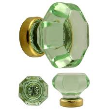 Glass Door Knobs Octagonal Pale Green Glass Knob With Brass Base