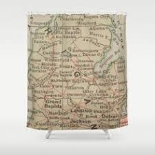 Of Michigan Curtains Vintage Map Of Michigan 1844 Shower Curtain Products Showers