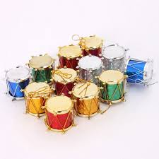12pcs merry tree drums shaped hanging gift ornaments home