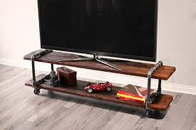 cool industrial style cast iron pipe and wood diy tv stand with