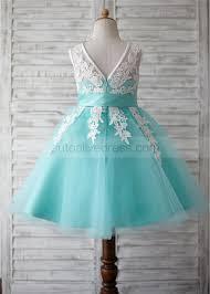 tulle ivory lace v back knee length flower girl dress