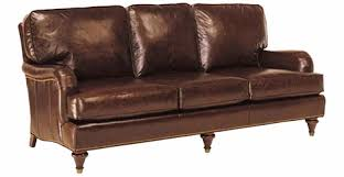 english arm leather furniture sofa set with antique brass nailed