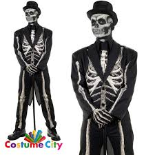 mens teens bone chillin skeleton suit fancy dress halloween party