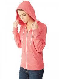 ladies red eco mock twist french terry adrian full zip hoodie