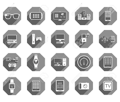 icons set of smart devices modern wearable electronics audio