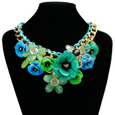 chunky fashion necklace images Fashion statement choker flower necklace crystal chunky collar jpg