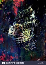 butterfly with flower original hand draw computer collage and