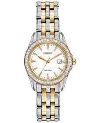 ladies silver bracelet watches images Citizen women 39 s silhouette crystal eco drive two tone stainless tif
