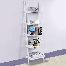 Leaning Bookcase Walmart Costway White 5 Tier Bookshelf Leaning Wall Shelf Ladder Bookcase