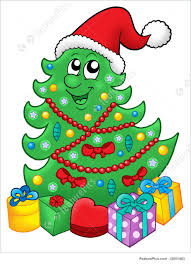 illustration of santa xmas tree with gifts