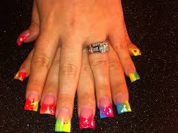 artificial nails neon brights in acrylic fan tail square nails
