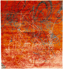 Orange Modern Rug Maenlarys A Knotted Tibetan Rug From The Tibetan Rugs