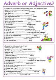 worksheet adverb or adjective