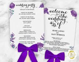Wedding Program Template Fan Wedding Fan Program Etsy