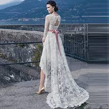 high low wedding dress with sleeves alw sleeve lace a line high low wedding dress bridal gowns