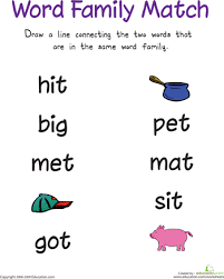 free worksheets rhyming words for kids in english free math
