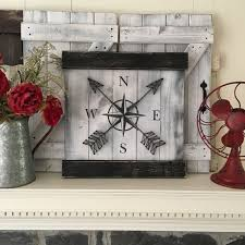 wood compass wall nautical wall decor compass decor rustic gallery wall