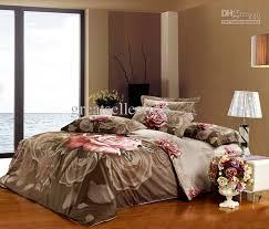 Brown Duvet Cover King High Quality King Size Brown Bedding Set Grey Rose Floral Duvet