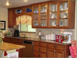 attractive wood and glass kitchen cabinets