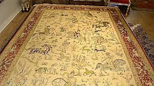 Old Persian Rug by Persian Rug Qum Silk Persian Hunting Scene Area Rug Youtube