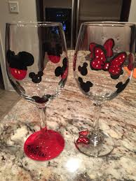 his hers wine glasses disney mickey and minnie bows painted wine glasses