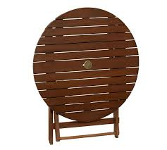 Folding Outdoor Table And Chairs Chatham Round Folding Bistro Table Dark Honey Pottery Barn