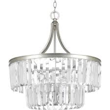 Progress Lighting 5 Light Chandelier Progress Lighting Glimmer Collection 5 Light Silver Ridge Pendant