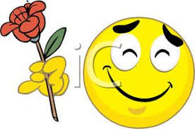 Smiley Flowers - image a smiley holding a red flower